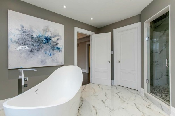 White Marble Bathroom Flooring by Azul Granite & Marble Inc.