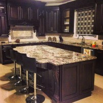 Azul's brown marble countertop