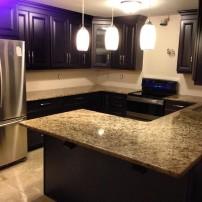 Azul's brown cream marble countertop